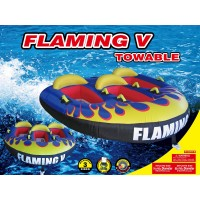 H2O Sporting Flaming V 3 Person Safe Sit in Tube / Towable