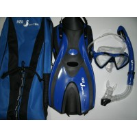 H2O Sporting Snorkel Set - Silicone Mask, Dry Top Snorkel, Fins & Bag
